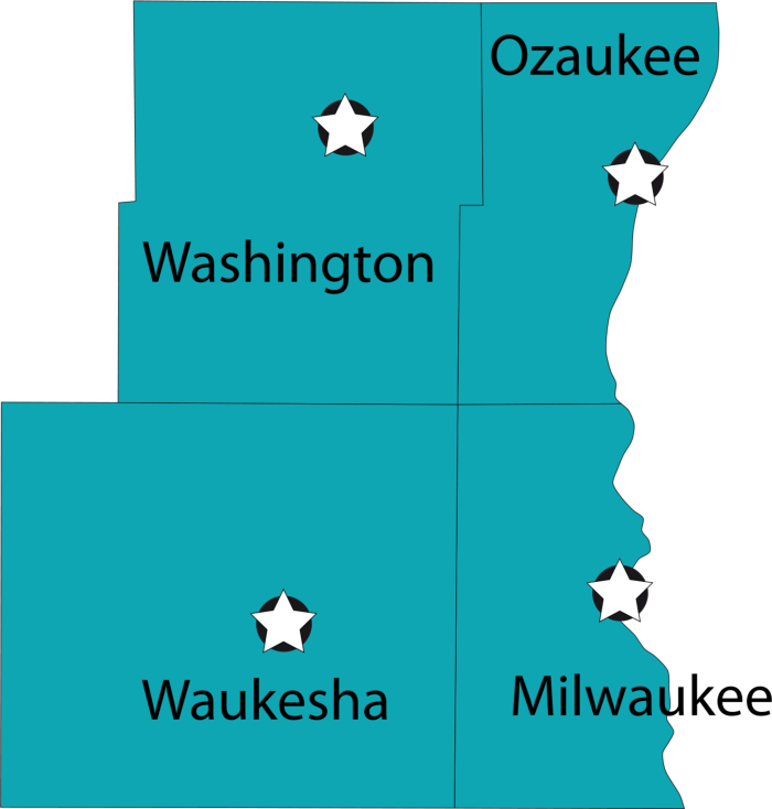 Milwaukee, Ozaukee, Washington, and Waukesha county